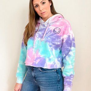 NWT Tie Dye Cropped Hoodie Happy Face Stitching